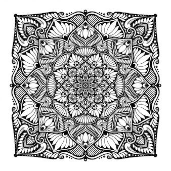 タトゥー、ヘナ、塗り絵、装飾用の花曼荼羅。