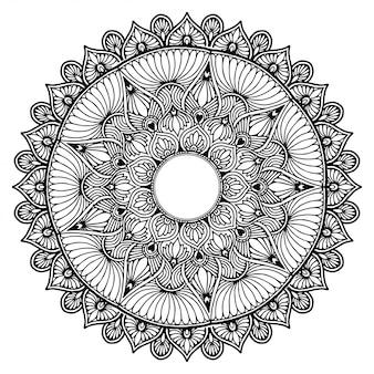 Круглая цветочная мандала для татуировки, хны. старинные декоративные элементы. восточные узоры. индийский дизайн, узор и штамп.