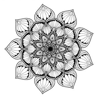 タトゥー、ヘナの丸い花曼荼羅。ヴィンテージの装飾的な要素。