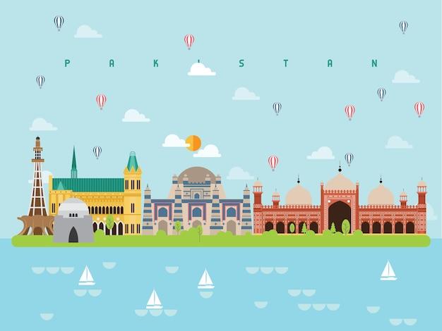 パキスタンの有名なランドマークインフォグラフィック