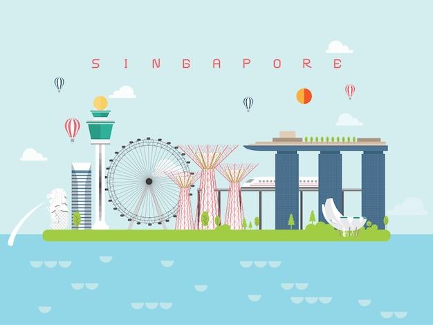 シンガポールの有名なランドマークインフォグラフィック