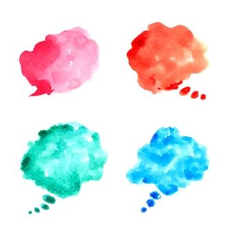 抽象的な水カラフルな絵の形のバブルスピーチ