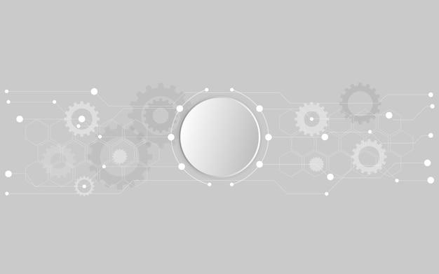灰色の背景にトレンディなフラットスタイルの抽象的な技術。ベクトルイラスト