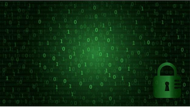 Двоичный матричный код данных компьютера в модном плоском стиле для концепции технологии.