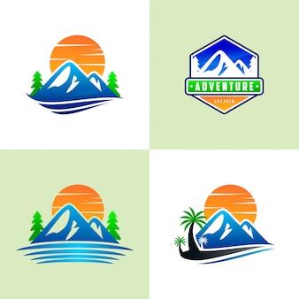 山のロゴのテンプレートのセット