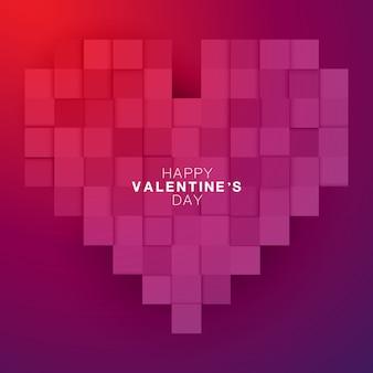 紫と赤のグラデーションカラーでハッピーバレンタインデーのピクセル大きな心