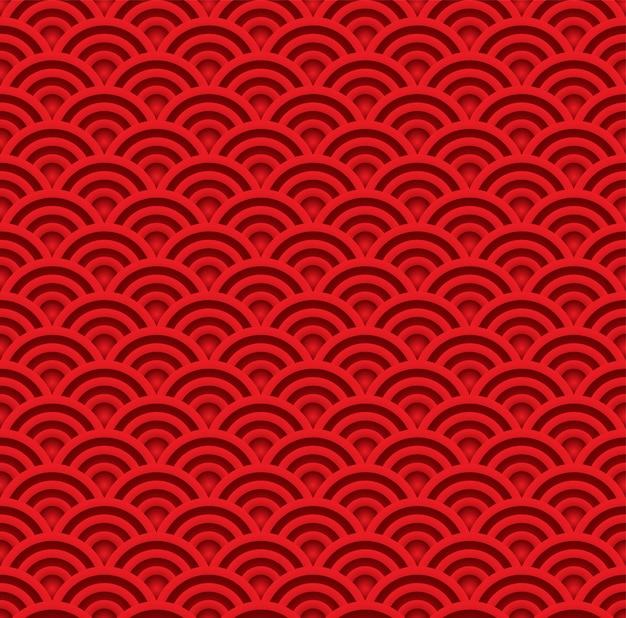 赤い波のシームレスパターン。アジアの伝統的な芸術スタイルの背景のベクトル