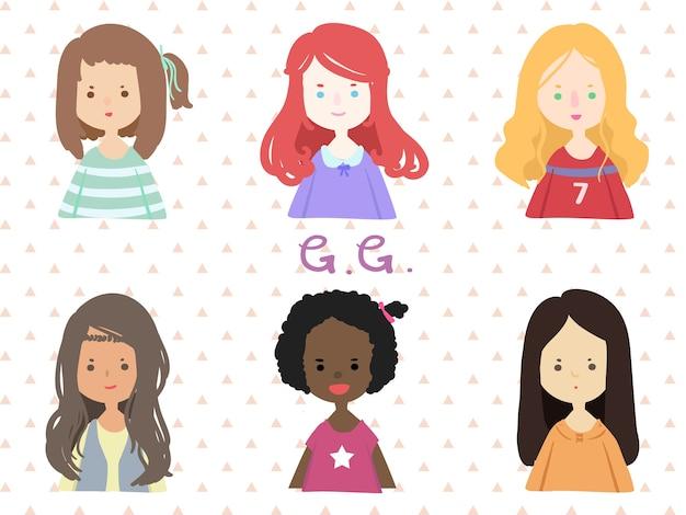 女の子のユーザーの漫画のイラスト