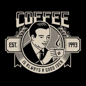 一杯の熱いコーヒーイラストを握って男