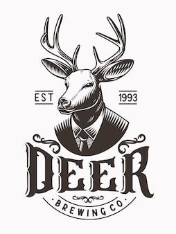 鹿頭マスコットロゴビンテージイラストレーション