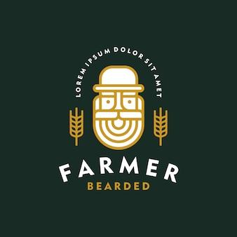Пивная этикетка, пивной логотип. старый фермер бородатый пивоваренный завод эмблема винтажном стиле.