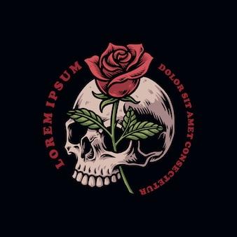 バラのベクトル図と頭蓋骨の頭