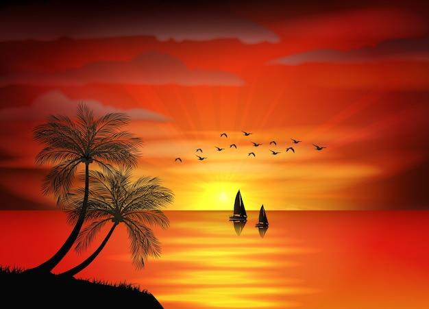 ビーチの夕焼けのパノラマ