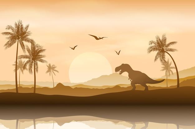 川岸の背景の恐竜のシルエット
