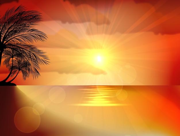 ビーチでの夕焼け