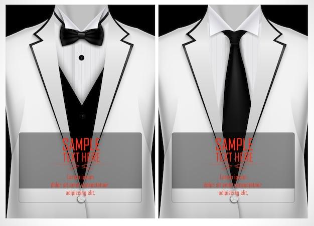 白いスーツとタキシードと黒の蝶ネクタイ