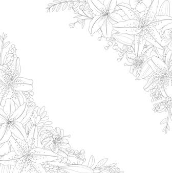 白い背景に装飾的な花