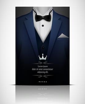 Синий смокинг с черным галстуком-бабочкой