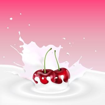 Всплеск молока с красной вишней