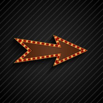 Стрелка ретро лампочки щит знак на черном фоне
