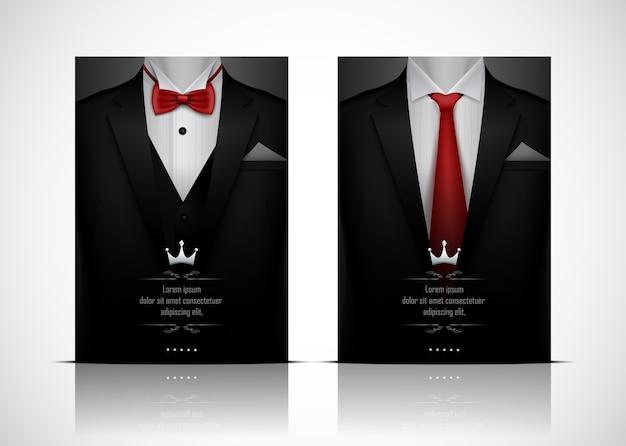 黒いスーツとタキシード、赤い蝶ネクタイ