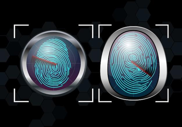 指紋スキャン識別システムのグループ