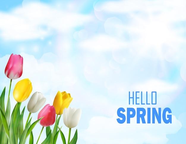 チューリップ花は美しい春