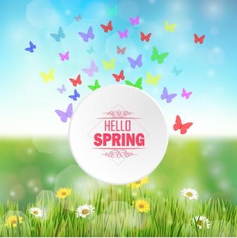 こんにちは春の背景カラフルな蝶