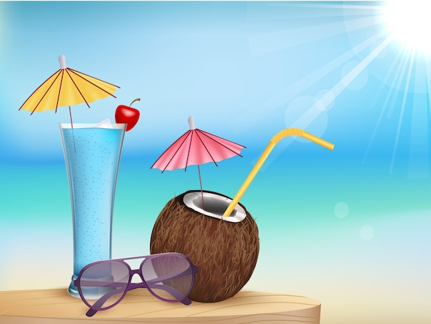 夏のビーチジュース、ココナッツカクテル付きのメガネ