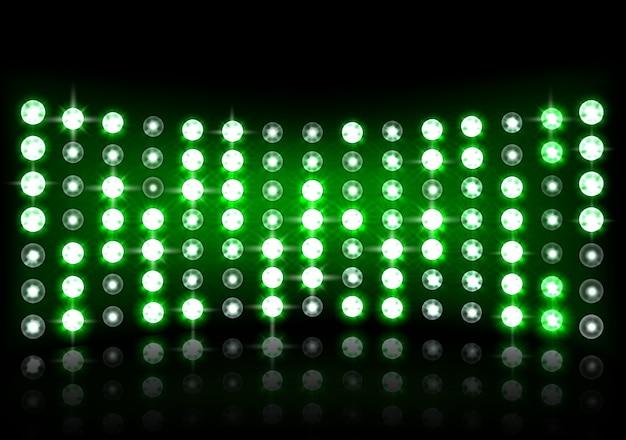 現実的な緑のステージの光の背景のイラスト
