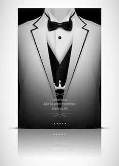 黒い蝶ネクタイと白いスーツとタキシード
