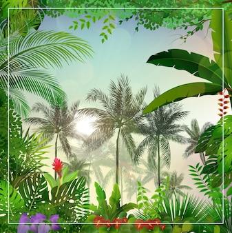 Тропический пейзаж утром с пальмами и листьями