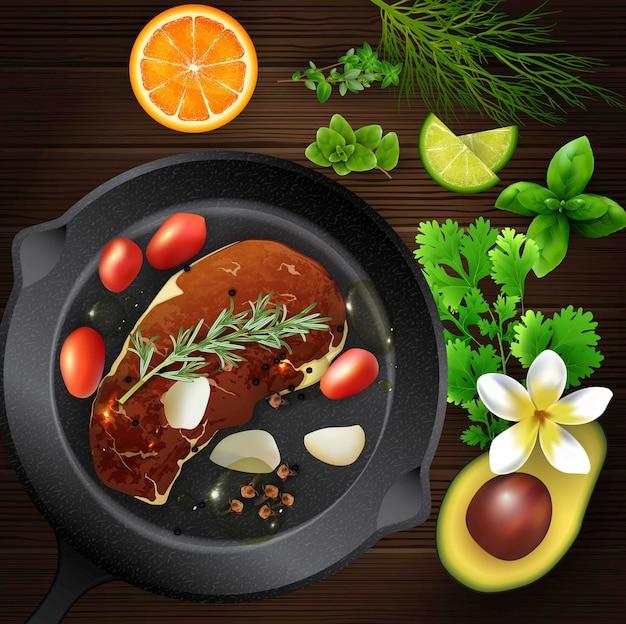現実的なスパイスとハーブと肉の木製テーブル