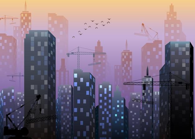Городская строительная площадка со зданиями и кранами