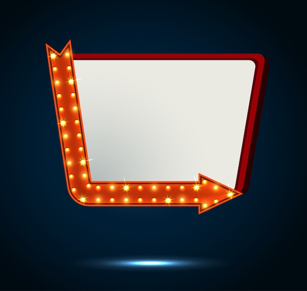 Значок стрелки и рекламного щита на синем фоне