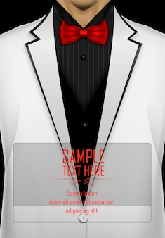 黒い蝶ネクタイの白いタキシード