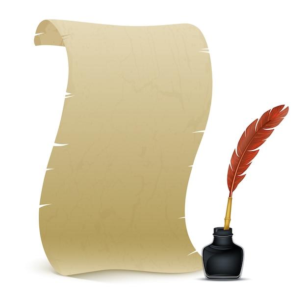 羽毛とインク溜めの古代の羊皮紙
