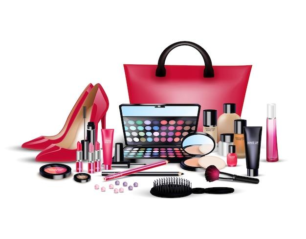孤立した背景に化粧品と女性のもののセット