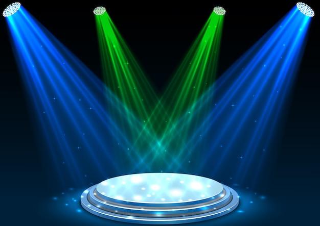 Синие и зеленые прожекторы с белым подиумом