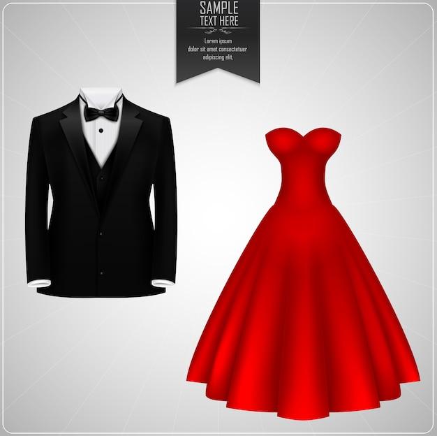 黒の新郎のスーツと赤のブライダルドレス