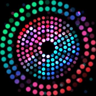 黒い背景に色の円