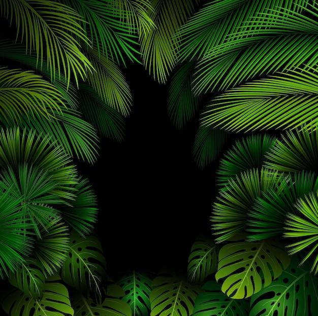 黒い背景に熱帯の葉とエキゾチックなパターン