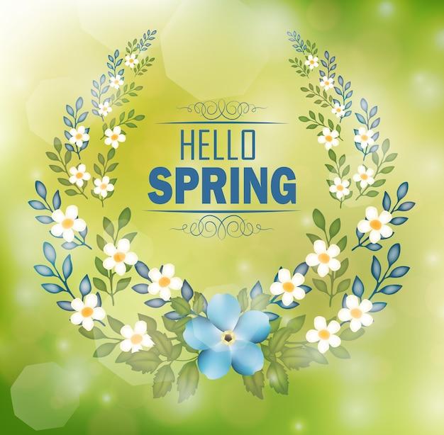 テキストハロー春とボケ背景の花のフレーム