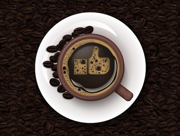 コーヒーとコーヒー豆の背景のカップ