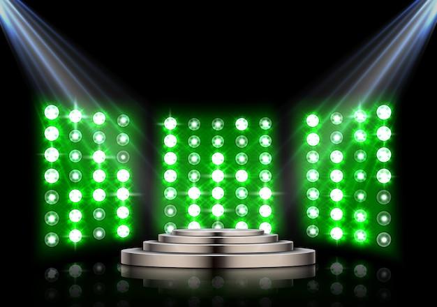 Подиум на сцене с прожекторами и фоном
