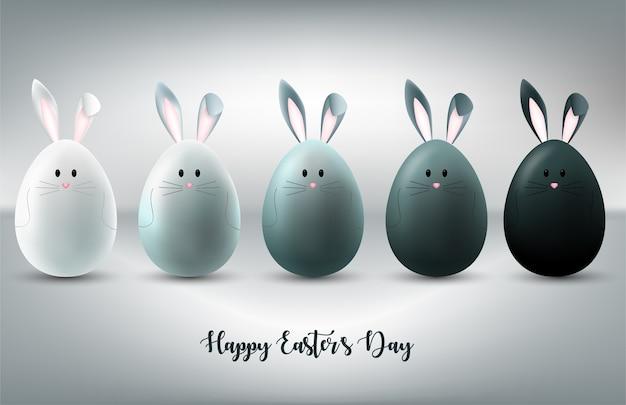 卵にバニーキャラクターとハッピーイースターの日の背景