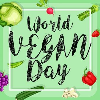 平らなデザイン野菜の背景と世界のビーガンの日のポスター