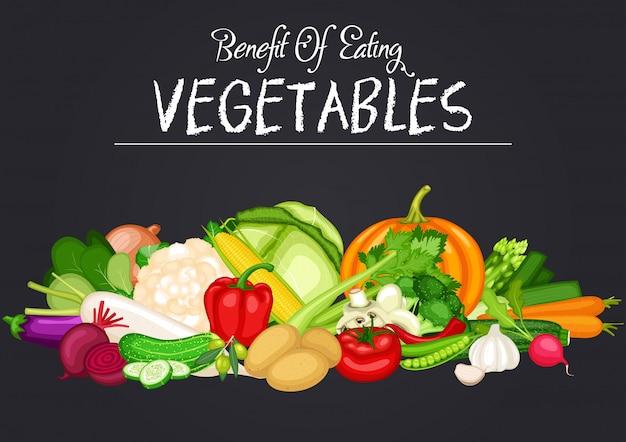 野菜のフラットなデザインで健康食品バナーをセット