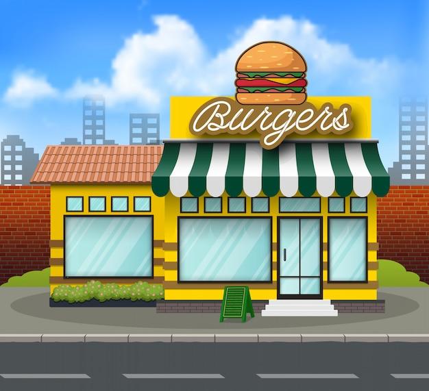 フラットデザインハンバーガー店前