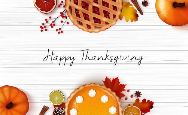 現実的な背景デザインのハッピー感謝祭の日グリーティングカード